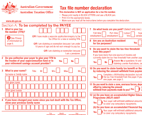 TFN Tax File Number Australie