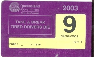Plaque d'immatriculation Queensland Rego